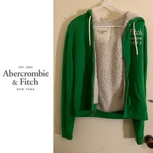 EUC Abercrombie & Fitch Fluffy Zip-Up in Green